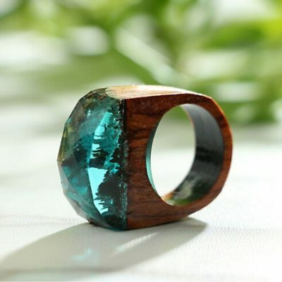 1pcs Handmade Wood Resin Ring With Magnificent Tiny Fantasy Secret Landscape