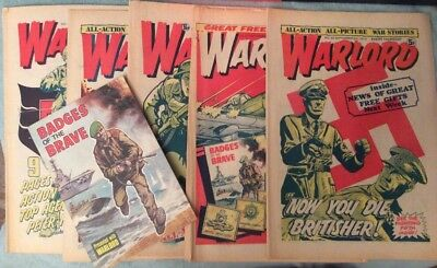 5 x Vintage 'Warlord' Comics Issues #50, 51, 52, 53, 54 ( Sept-Oct 1975) & Gift!