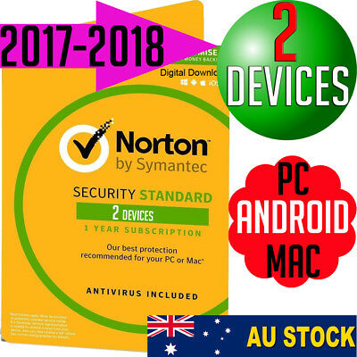 Norton Security 2 User V3 Apple Windows Mac Antivirus 2017 2018 PC Multi Device