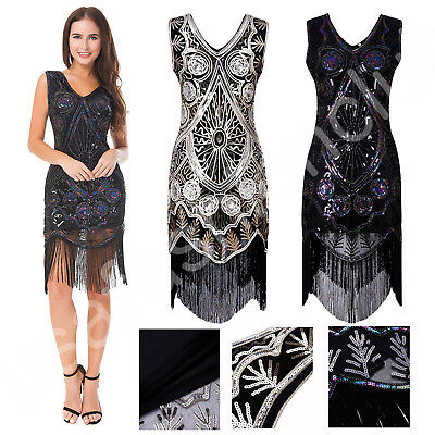 Women Vintage 1920s Tassel Gatsby Charleston Flapper Fringe Dress Costume outfit