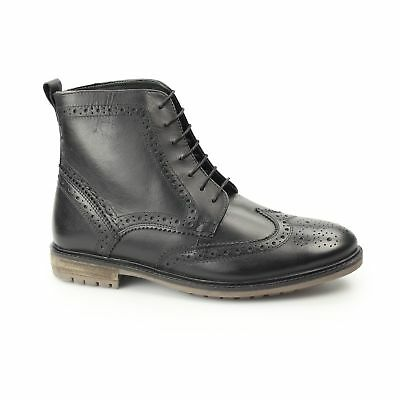 990e958fc53 SILVER STREET LONDON GERRARD Mens Leather Lace Up Comfy Brogue Derby Boots  Black
