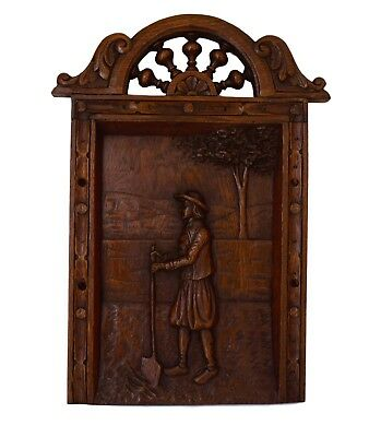 Architectural 19th.C Carved Oak Wood Wall Panel French Country Peasant Brittany