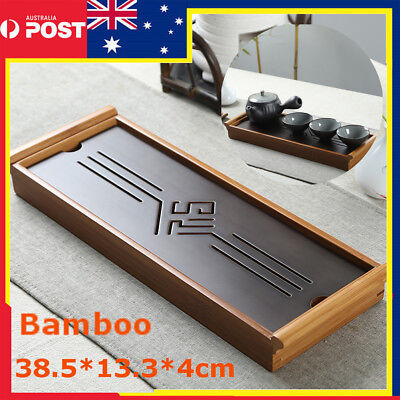 Portable Bamboo Tabletop Chinese Gongfu Tea Serving Table Water Drip Tray 39cm
