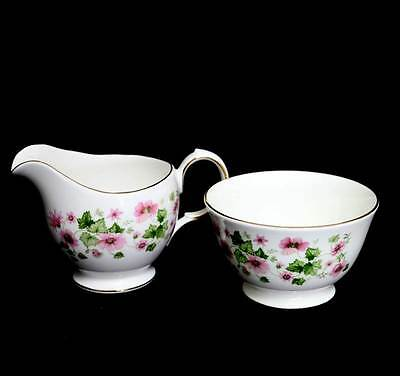 Vintage Queen Anne stunning pink & green pretty large jug and sugar bowl