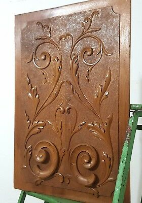 HAND CARVED WOOD PANEL ANTIQUE FRENCH VOLUTE ARCHITECTURAL SALVAGE CARVING 19th