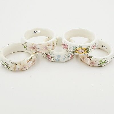 Vintage AJL Bone China Octagonal Shaped Floral Napkin Serviette Rings- Set Of 5
