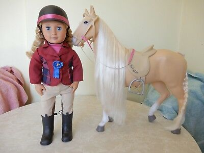 Our Generation Battat Lily Anna Riding Doll & Horse 18 Ins/46Cm New Condition