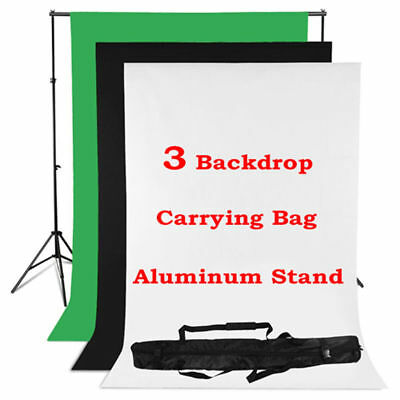 AU Studio Backdrop Black White Green Light Screen Lighting Background Stand Kit