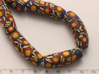 5 Krobo Millefiori Glasperlen 12x32mm bunt Afrika Trade Beads West-Afrika 1172