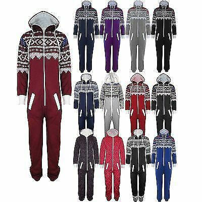 854e17893711 New Womens Mens Unisex Aztec Snowflake Hooded All in One Piece Ladies  Jumpsuit