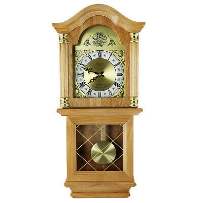 "NEW BEDFORD GOLDEN OAK FINISH 26"" GRANDFATHER WALL CLOCK with PENDULUM & 4 CHIME"