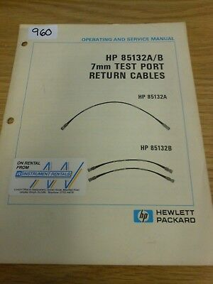 HP Agilent 85132A/B 7mm Test Port Return Cables Operating and Service Loc: 960
