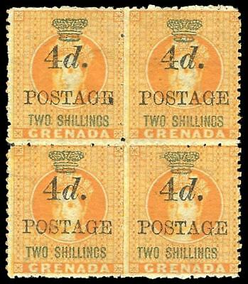 Grenada 1888 QV 4d on 2s orange block of four MLH. SG 41.