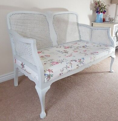 Edwardian Painted Bergere Sofa Settee Chaise with Cath Kidston Fabric