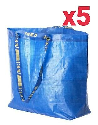 5x IKEA Medium Reusable Eco Bags Shopping Laundry Tote Travel Bag FRAKTA 10 Gal