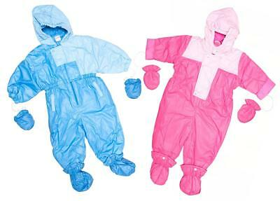 Baby Boys Girls Padded Skisuit Snowsuit with Mittens & Bootees 6 to 18 Months