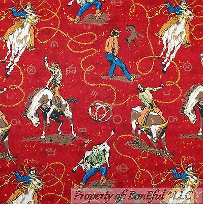 BonEful Fabric FQ Cotton Quilt VTG Red Brown Black Cow*boy Horse West*ern Rodeo