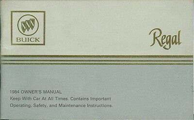 1984 Buick Regal Owners Manual User Guide Reference Operator Book Fuses Fluids