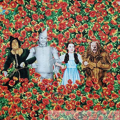 BonEful FABRIC FQ Cotton Quilt Wizard of Oz Character Dorothy Lion Flower Field