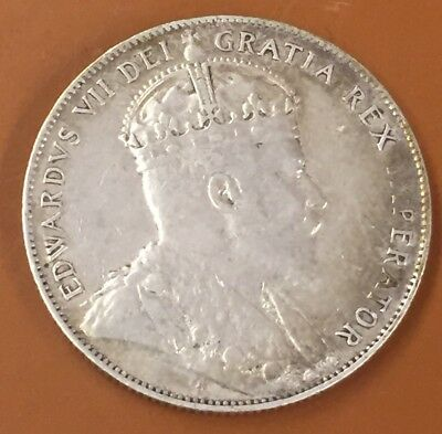 1907 Very Fine VF Canada Half 50 Cent Coin Canadian Fifty Cents Key Date