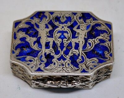 A Lovely Modern Italian Solid Silver Pill Box with Blue Lapis Enamel Decoration