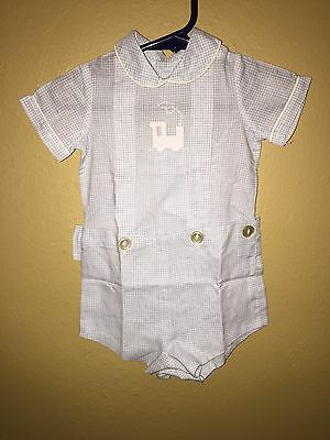 4735 VGC Vintage BABY TOGS Boys 2-Piece Dressy Holiday Shortall Birth To 3 Mos