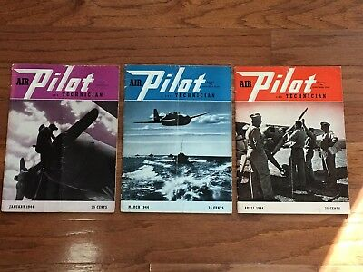 (3) Wwii Air Pilot And Technical Magazine Issues (January/march/april 1944)