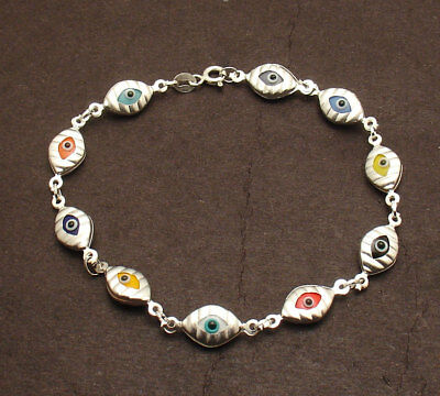 Multi Color Greek Mati Evil Eye Luck Bracelet Real 925 Sterling Silver