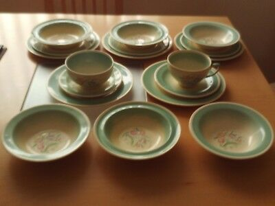 Vintage Susie Cooper Green Dresden Spray Pattern ~Cup,Saucers,Plates,Bowls,Basin