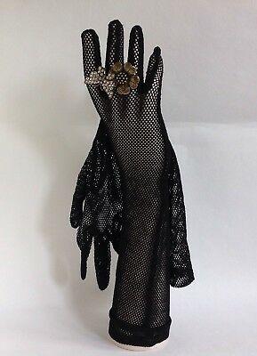 "Vintage 1950s Black Rayon Fish Net Stocking 16"" Evening Opera Gloves Size 6.5"