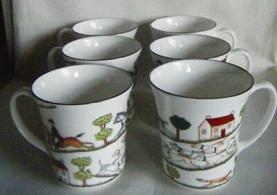 Coalport Hunting Scene Coffee Mugs Set Of Six