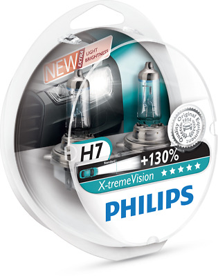 Philips Xtreme Vision Plus 130% Extra Light Headlight Halogen Bulbs H7 Twin Pack