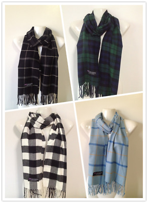 Wholesale 4Pcs 100% Cashmere Scarf Made In Scotland Plaid Design Style M