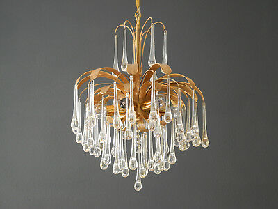 70s Palwa brass chandelier pendant with long crystal drops from Palme & Wagner