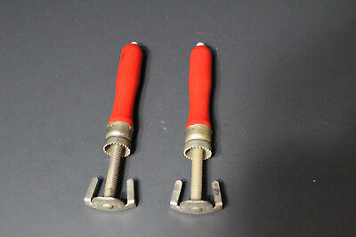 Nice Pair Vintage Eagle Industries Cap Turn Bottle Top Openers Red Wood Handles