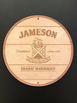 "Jameson Irish Whiskey - 12"" Diameter WoodSign"