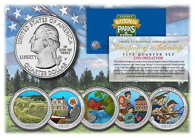 2017 Colorized National Parks America the Beautiful Coins *Set of all 5 Quarters
