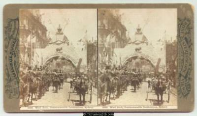 1901 George Rose Stereo Card #2625 of Wool Arch, Commonwealth Celebrations