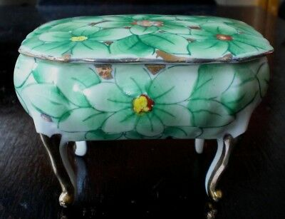 Vintage ARDALT HAND PAINTED LENWILE CHINA Candy Dish w/Lid, Gold Legs, Floral