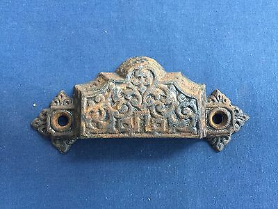 Vintage Cast Iron Drawer Bin Pull Handle Patented Oct 1 1872