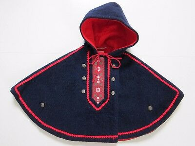 Vintage Wiener Werkstatte Blue Red Wool Hooded Cape Kids Toddler Size 86 3-5 Yr