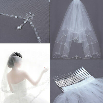2 T Wedding Bridal Veil Elbow Length Pearl Beaded Edge With Comb Ivory White US
