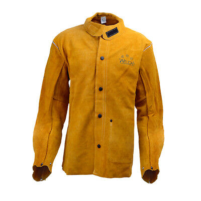 Yellow Protective Welding Coat Cowhide Leather Welders Jacket Heavy Duty XXL