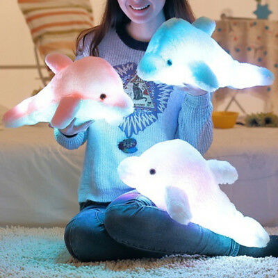 Cute Dolphin Plush Fluffy Doll Luminous LED Light Up Glow In Dark Baby Kids Toys