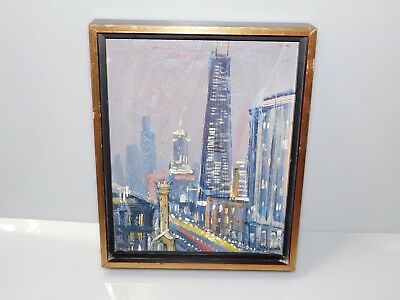 Magnificent Mystery Oil on Board Painting of a Town - 10 3/4 x 9