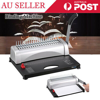 21 Hole 450 Sheets Home Office Paper Punch Binder Comb Binding Machine Black