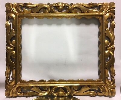 """Antique Gilded Carved Wood 19th Century Picture Frame Fits 15 3/4"""" x 19 3/4"""""""