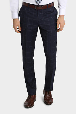 NEW Wolf Kanat Large Check Suit Trouser Navy