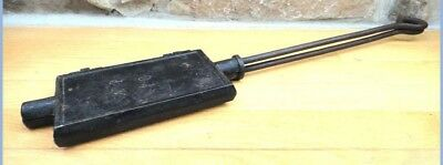antique victorian FIREPLACE WAFFLE PIZZELLE MAKER nice pattern CAMPING CAST IRON