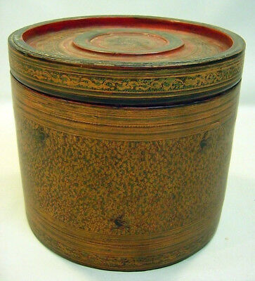 + Antique Large Siamese Hand Painted Lacquered Box Cylinder Container